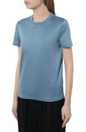Женская хлопковая футболка LORO PIANA голубого цвета, арт. FAI5069 | Фото 3