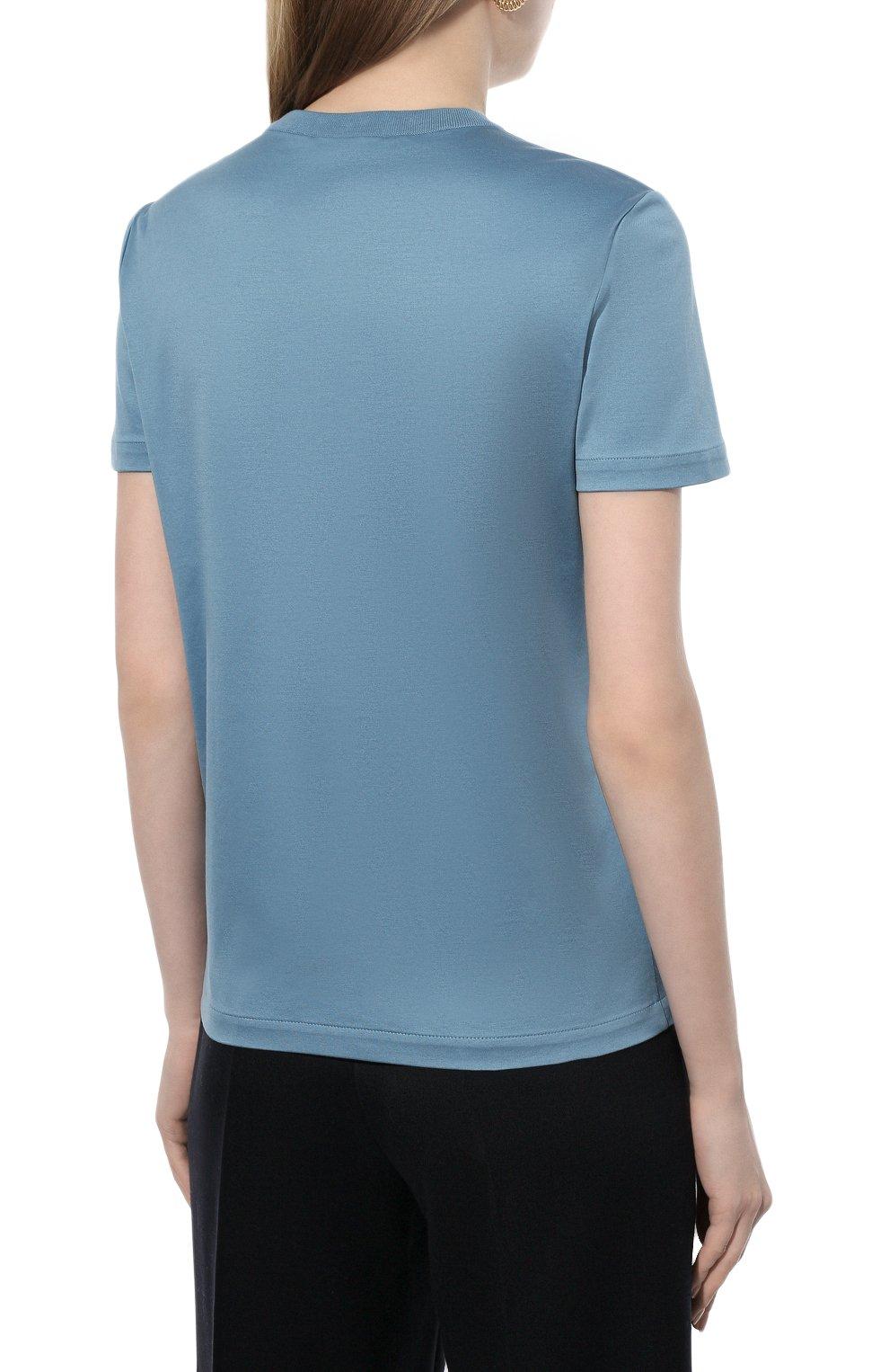 Женская хлопковая футболка LORO PIANA голубого цвета, арт. FAI5069 | Фото 4