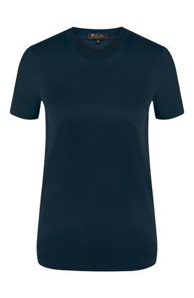 Женская хлопковая футболка LORO PIANA темно-синего цвета, арт. FAI5069 | Фото 1