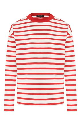 Женская хлопковый лонгслив LORO PIANA красного цвета, арт. FAI5043 | Фото 1 (Материал внешний: Хлопок; Длина (для топов): Стандартные; Рукава: Длинные; Стили: Кэжуэл; Принт: С принтом; Женское Кросс-КТ: Лонгслив-одежда; Статус проверки: Проверена категория)