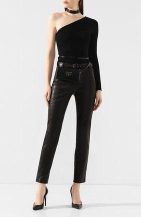Женские кожаные брюки TOM FORD черного цвета, арт. PAL688-LEX224 | Фото 2