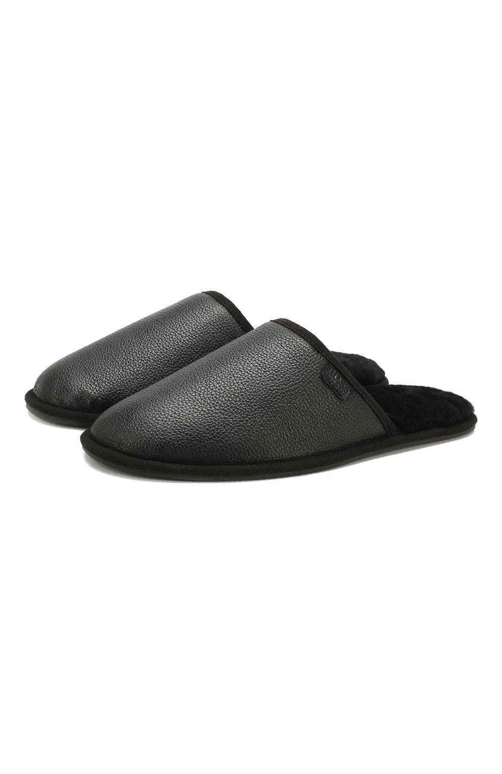 Мужского кожаные домашние туфли BOSS черного цвета, арт. 50423209 | Фото 1