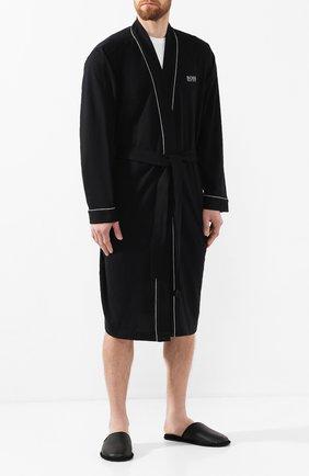 Мужского кожаные домашние туфли BOSS черного цвета, арт. 50423209 | Фото 2