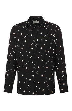 Мужская шелковая рубашка SAINT LAURENT черного цвета, арт. 564172/Y1A80 | Фото 1