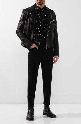 Мужская шелковая рубашка SAINT LAURENT черного цвета, арт. 564172/Y1A80 | Фото 2