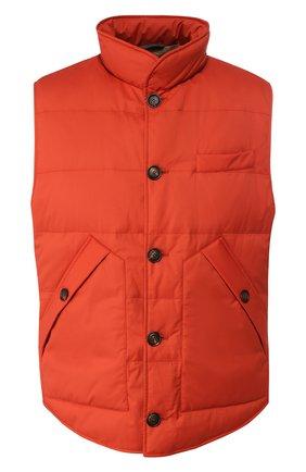 Мужской пуховый жилет BRUNELLO CUCINELLI оранжевого цвета, арт. MM4591111 | Фото 1