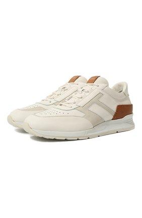 Мужские кожаные кроссовки TOD'S белого цвета, арт. XXM56B0AY30KQE | Фото 1
