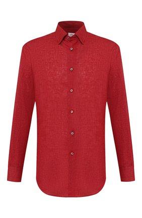 Мужская льняная рубашка BRIONI красного цвета, арт. SCCA0L/P9111   Фото 1 (Материал внешний: Лен; Длина (для топов): Стандартные; Рукава: Длинные; Случай: Повседневный; Воротник: Кент)