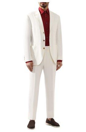 Мужская льняная рубашка BRIONI красного цвета, арт. SCCA0L/P9111   Фото 2 (Материал внешний: Лен; Длина (для топов): Стандартные; Рукава: Длинные; Случай: Повседневный; Воротник: Кент)