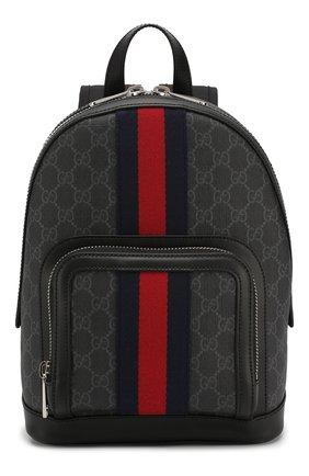 Мужской рюкзак gg supreme GUCCI темно-серого цвета, арт. 598102/92TAN | Фото 1