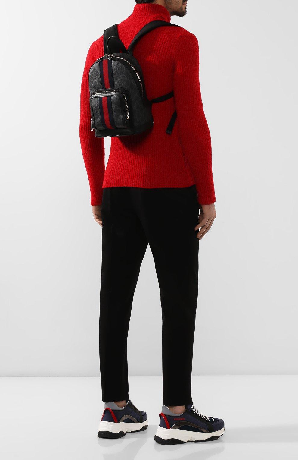 Мужской рюкзак gg supreme GUCCI темно-серого цвета, арт. 598102/92TAN | Фото 2