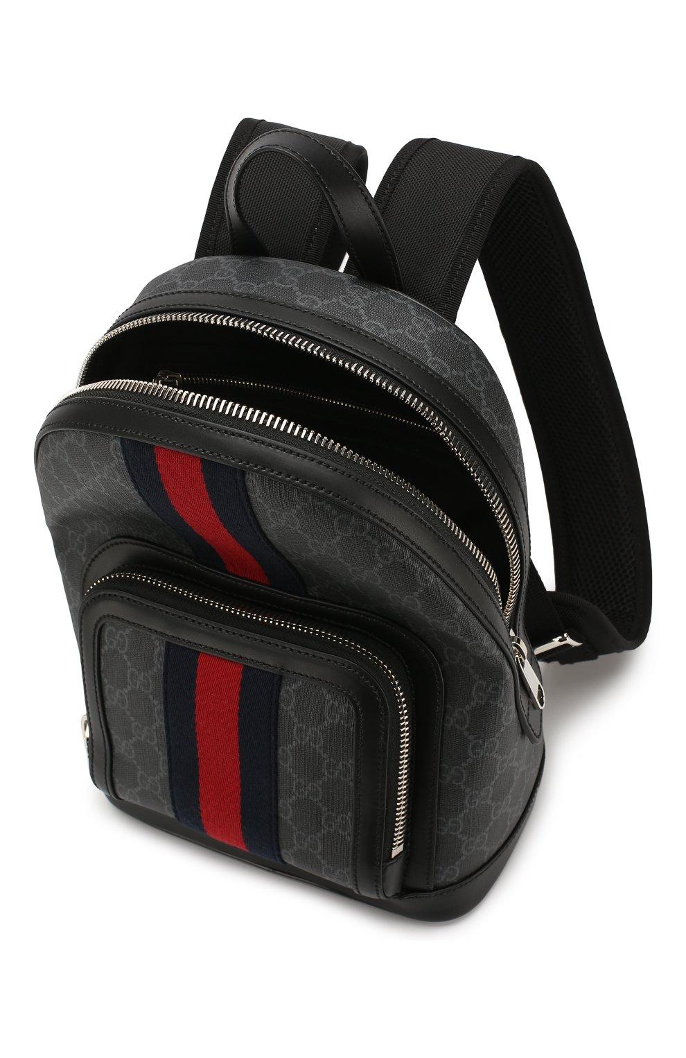 Мужской рюкзак gg supreme GUCCI темно-серого цвета, арт. 598102/92TAN | Фото 4