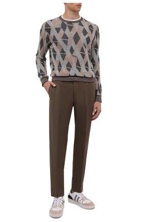 Мужской хлопковые брюки LORO PIANA коричневого цвета, арт. FAE8346 | Фото 2