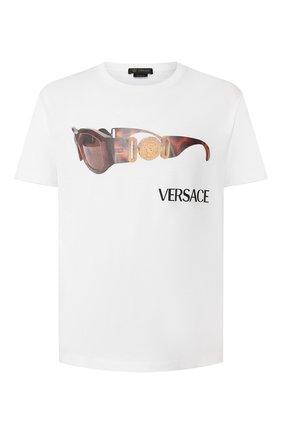 Мужская хлопковая футболка VERSACE белого цвета, арт. A85158/A228806 | Фото 1