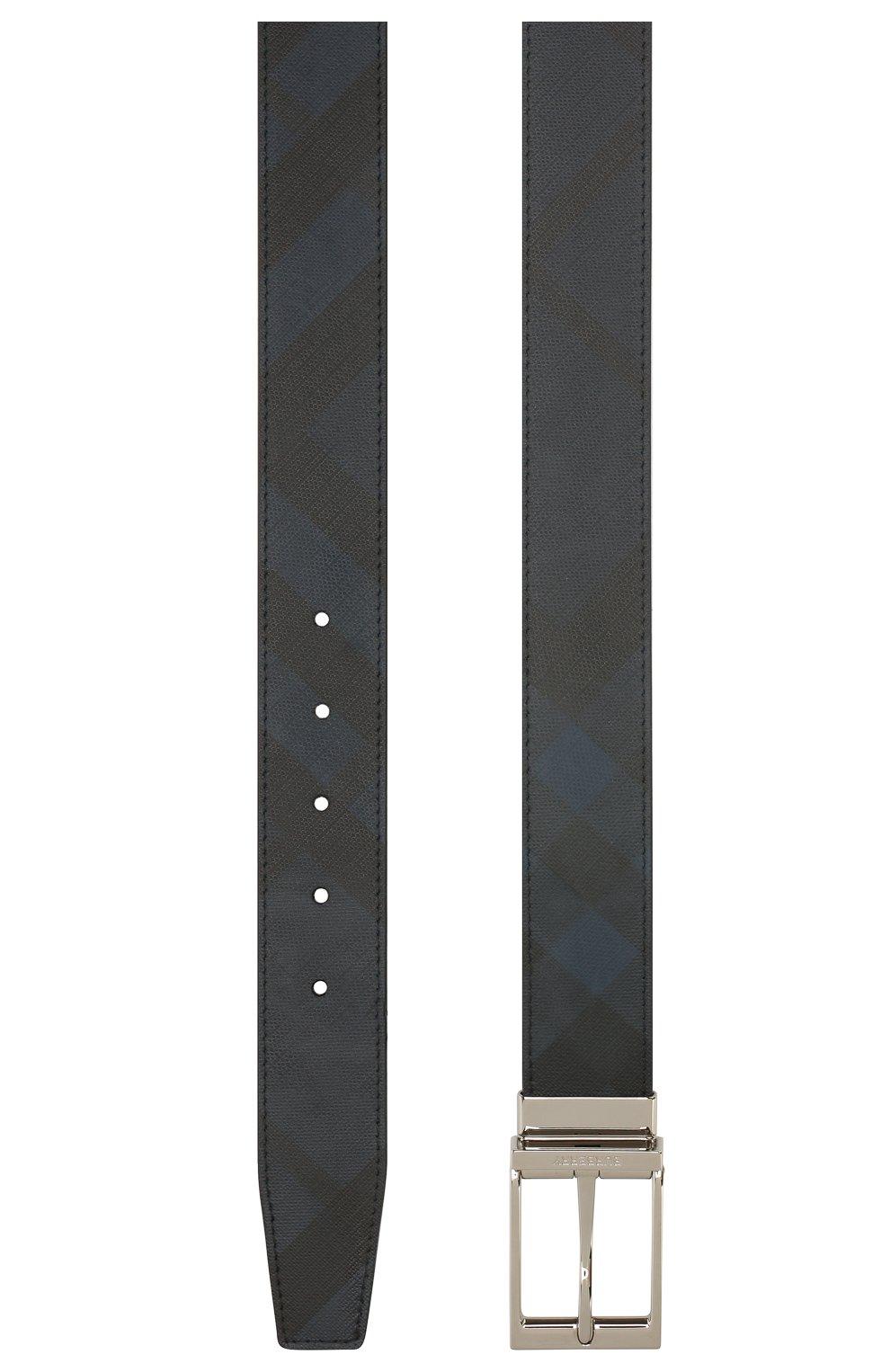Мужской ремень BURBERRY темно-синего цвета, арт. 8024159   Фото 2
