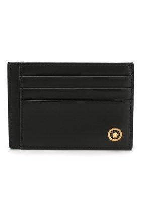 Мужской кожаный футляр для кредитных карт VERSACE черного цвета, арт. DPN7846/DVTE4 | Фото 1
