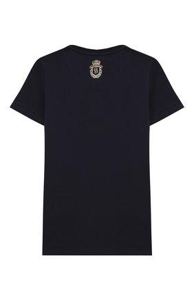 Детская хлопковая футболка BILLIONAIRE темно-синего цвета, арт. B20C BTK0886 BTE014N | Фото 2