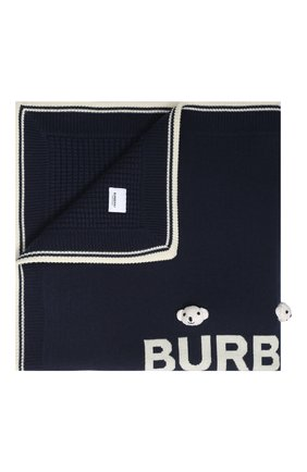 Детского шерстяное одеяло BURBERRY темно-синего цвета, арт. 8017912 | Фото 1