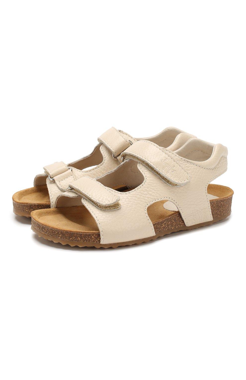 Детские кожаные сандалии IL GUFO бежевого цвета, арт. G550/VITELL0 CERV0/31-34 | Фото 1 (Материал внутренний: Натуральная кожа; Статус проверки: Проверена категория)