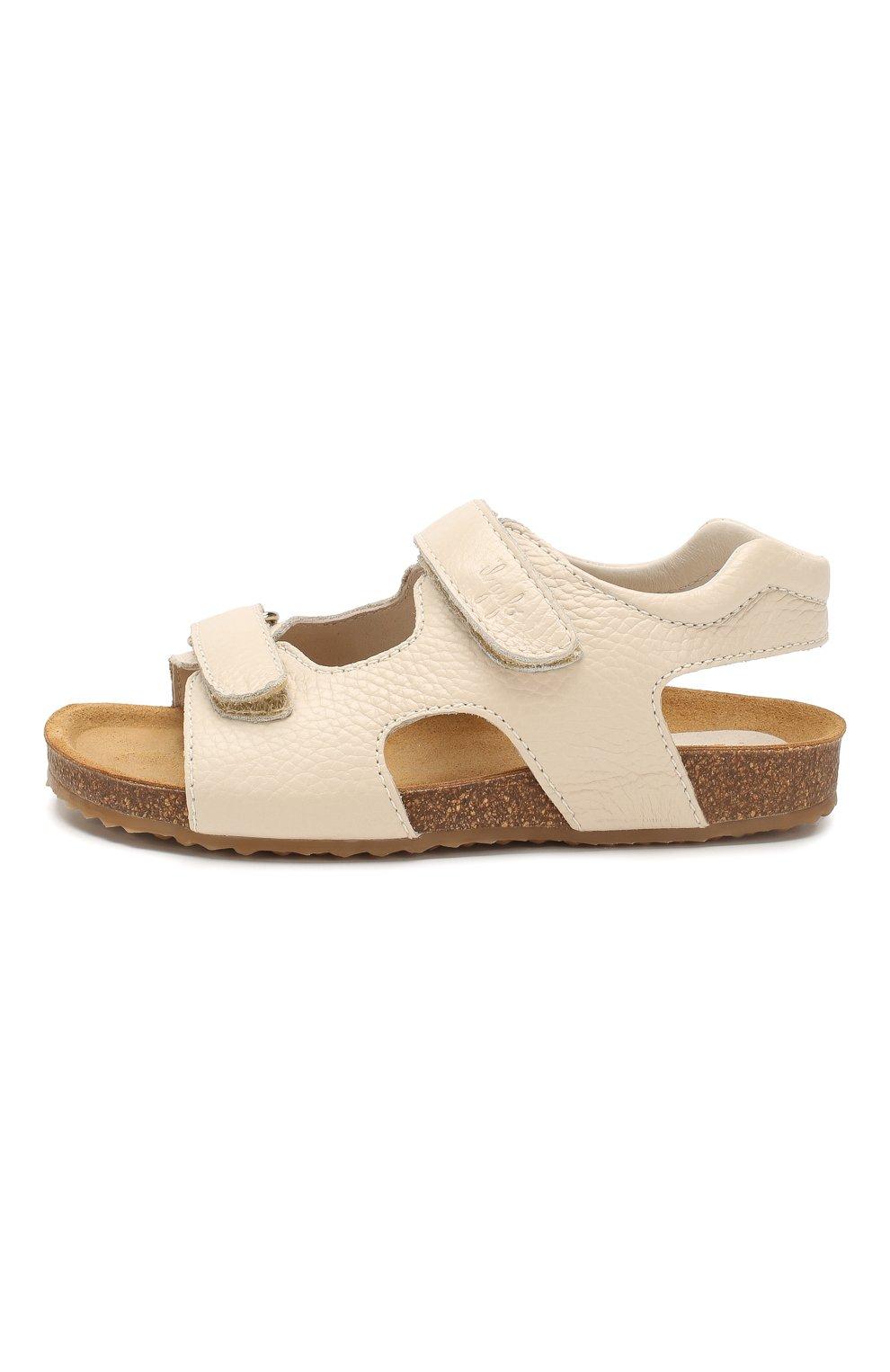 Детские кожаные сандалии IL GUFO бежевого цвета, арт. G550/VITELL0 CERV0/31-34 | Фото 2 (Материал внутренний: Натуральная кожа; Статус проверки: Проверена категория)