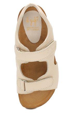 Детские кожаные сандалии IL GUFO бежевого цвета, арт. G550/VITELL0 CERV0/31-34 | Фото 4 (Материал внутренний: Натуральная кожа; Статус проверки: Проверена категория)