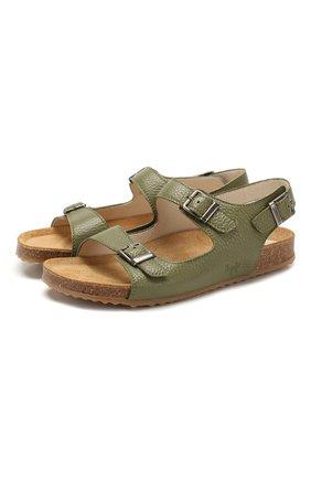Детские кожаные сандалии IL GUFO зеленого цвета, арт. G565/VITELL0 CERV0/35-42 | Фото 1