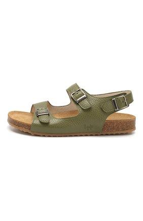 Детские кожаные сандалии IL GUFO зеленого цвета, арт. G565/VITELL0 CERV0/35-42 | Фото 2