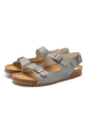 Детские кожаные сандалии IL GUFO серого цвета, арт. G565/VITELL0 CERV0/35-42 | Фото 1