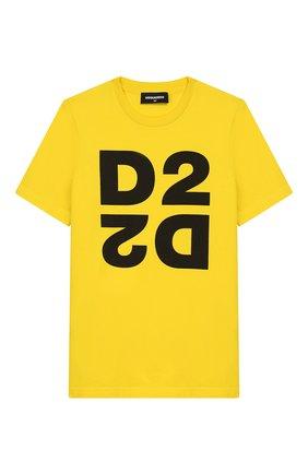 Детская хлопковая футболка DSQUARED2 желтого цвета, арт. DQ03WI-D00XK | Фото 1