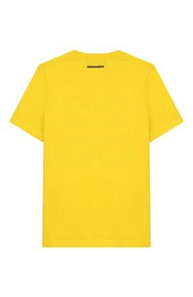 Детская хлопковая футболка DSQUARED2 желтого цвета, арт. DQ03WI-D00XK | Фото 2