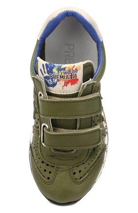 Детские кожаные кроссовки PREMIATA WILL BE хаки цвета, арт. LUCY V/1390/CHILD   Фото 4 (Материал внутренний: Натуральная кожа; Кросс-КТ: велькро)