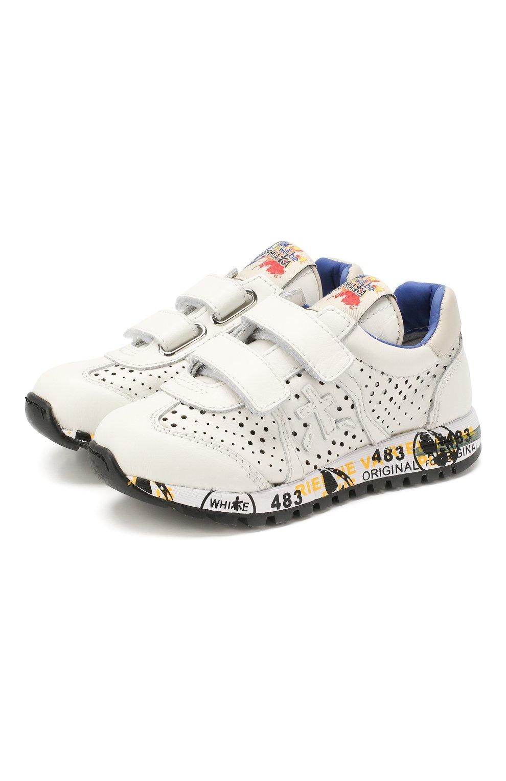 Детские кожаные кроссовки PREMIATA WILL BE белого цвета, арт. LUCY V/1217/CHILD | Фото 1 (Материал внутренний: Натуральная кожа; Стили: Гранж; Кросс-КТ: велькро; Статус проверки: Проверена категория)
