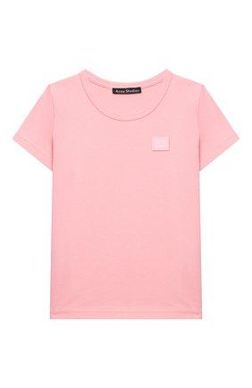 Детская хлопковая футболка ACNE STUDIOS розового цвета, арт. 2NH173 | Фото 1