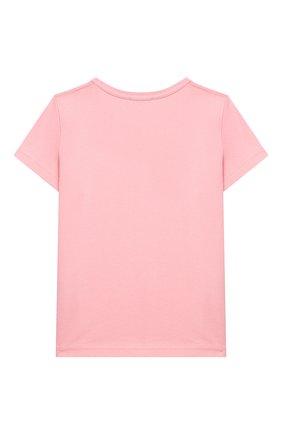 Детская хлопковая футболка ACNE STUDIOS розового цвета, арт. 2NH173 | Фото 2