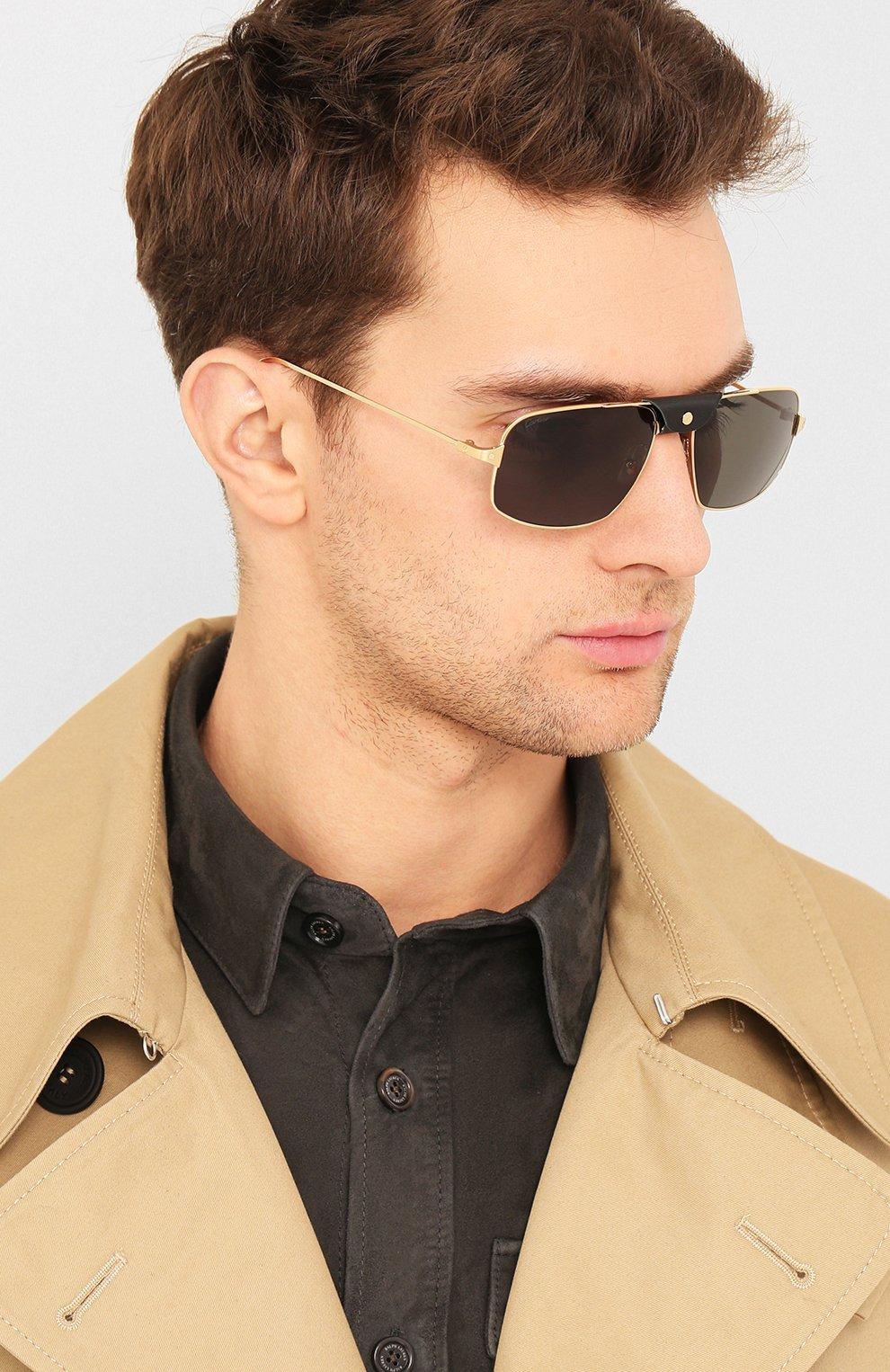 Мужские солнцезащитные очки CARTIER золотого цвета, арт. CT0193 001 | Фото 2