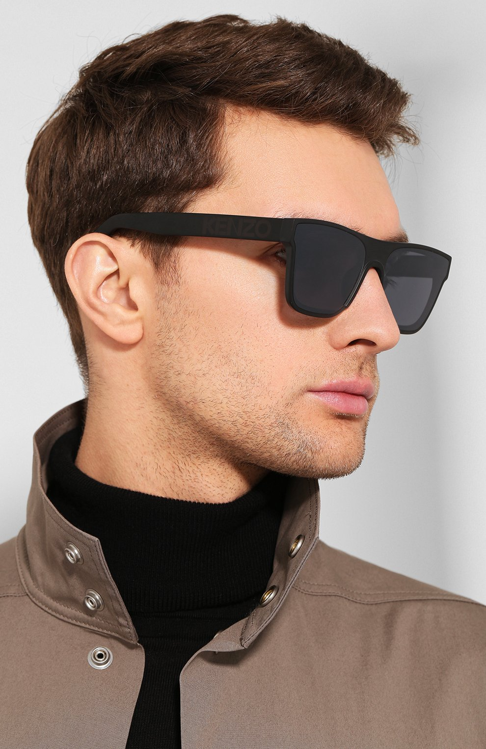 Мужские солнцезащитные очки KENZO черного цвета, арт. KZ40018U 02C   Фото 2