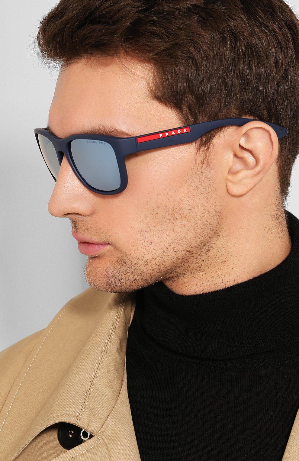Мужские солнцезащитные очки PRADA LINEA ROSSA синего цвета, арт. 01US-TFY740   Фото 2