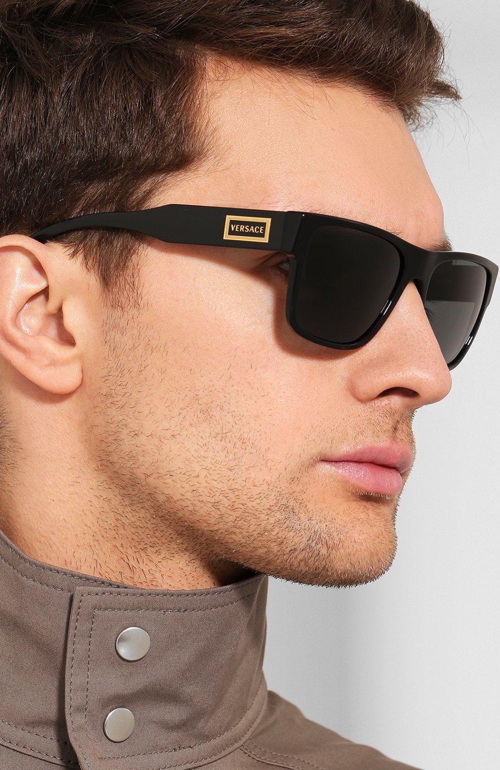 Мужские солнцезащитные очки VERSACE черного цвета, арт. 4379-GB1/87 | Фото 2