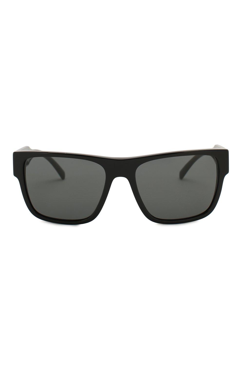 Мужские солнцезащитные очки VERSACE черного цвета, арт. 4379-GB1/87 | Фото 3