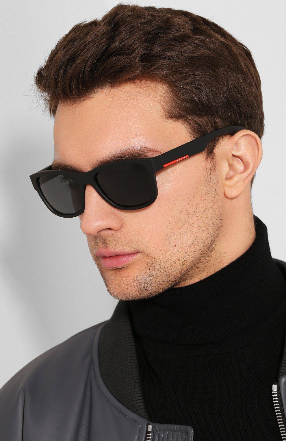 Мужские солнцезащитные очки PRADA LINEA ROSSA черного цвета, арт. 03QS-DG05Z1 | Фото 2