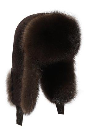 Шапка-ушанка из меха норки и соболя | Фото №1