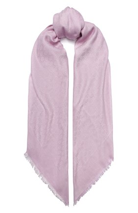 Женский платок из смеси шелка и шерсти GUCCI розового цвета, арт. 406236/3G632 | Фото 1