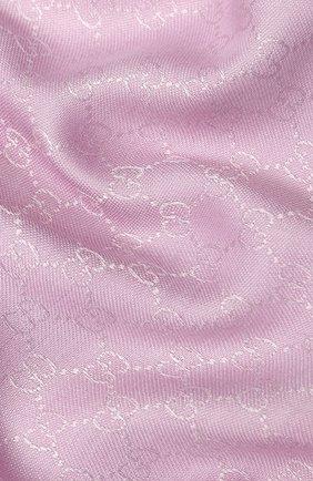 Женский платок из смеси шелка и шерсти GUCCI розового цвета, арт. 406236/3G632 | Фото 2