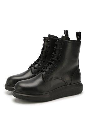 Женские кожаные ботинки ALEXANDER MCQUEEN черного цвета, арт. 609651/WHXE2 | Фото 1
