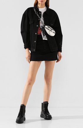 Женские кожаные ботинки ALEXANDER MCQUEEN черного цвета, арт. 609651/WHXE2 | Фото 2