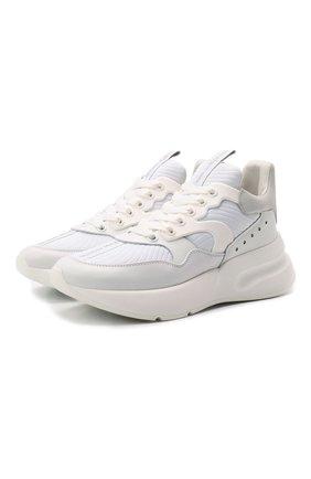 Женские кожаные кроссовки ALEXANDER MCQUEEN белого цвета, арт. 611700/WHXI1 | Фото 1 (Материал внутренний: Натуральная кожа, Текстиль; Подошва: Платформа)
