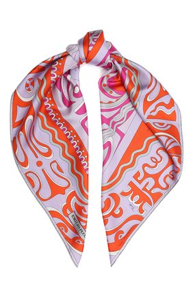 Женский шелковый платок EMILIO PUCCI фиолетового цвета, арт. 0EGB12/0ET12 | Фото 1