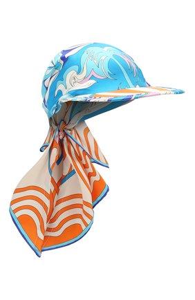Женская шелковая бейсболка EMILIO PUCCI голубого цвета, арт. 0EGF45/0EM42 | Фото 1
