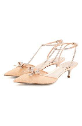 Женская текстильные туфли  RENE CAOVILLA бежевого цвета, арт. C10411-050-RP01X363 | Фото 1