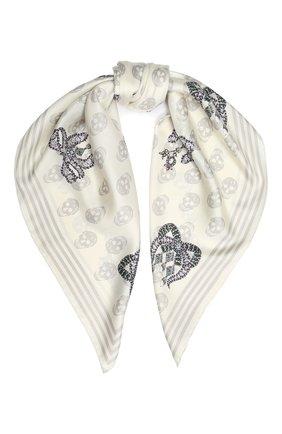 Женский шелковый платок ALEXANDER MCQUEEN кремвого цвета, арт. 610165/3001Q | Фото 1
